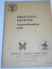 Aufsattel-Beetpflug B 201 - Ersatzteil - Katalog - 1969