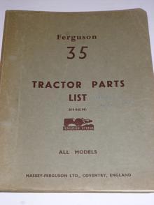 Ferguson 35 - Tractors Parts List - All Models