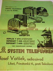 System Telefunken - Josef Voříšek, radiozávod Libeň - leták