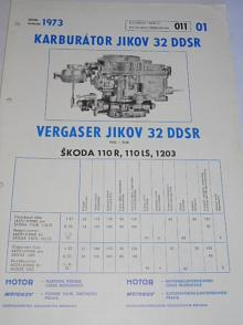 Jikov 32 DDSR - karburátor pro Škoda 110 R, 110 LS, 1203 - prospekt - 1973