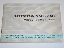 Honda 250, 360 model CB 250, CB 350 Owner´s manual 1974