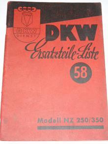 DKW NZ 250/350 - Ersatzteil-Liste - katalog náhradních dílů
