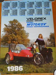 JAWA 350 + Velorex 700 - kalendář 1986 - plakát - Motokov
