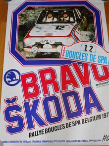 Bravo Škoda - Rallye Boucles de SPA Belgium 1979 - plakát - Škoda 130 RS - Motokov