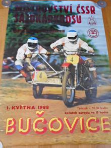 Mistrovství ČSSR sajdkárkrosu - Bučovice 1. 5. 1988 - plakát