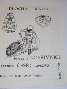 Plochá dráha Kopřivnice - AMK Tatra - 3. 5. 1980 - program