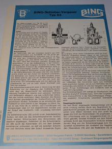 Bing - Schieber - Vergaser Typ 53 - prospekt - 1977