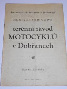 Terénní závod motocyklů v Dobřanech - 10. října 1965 - program