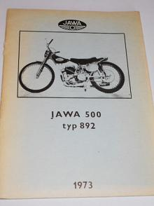 JAWA 500 typ 892 - Betreibsanleitung und Ersatzteilliste - 1973