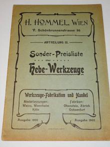 H. Hommel, Wien - Sonder - Preisliste über Hebe - Werkzeuge - 1902