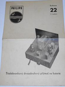 Philips - tříelektronkový dvouokruhový přijimač na baterie