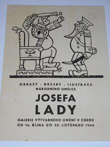 Josef Lada - Galerie výtvarného umění v Chebu 16. - 30. 11. 1966 - výtava - leták