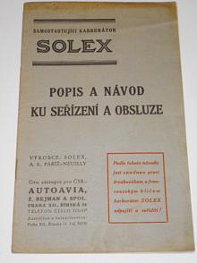 Solex - popis a návod ku seřízení a obsluze - Solex FV, FH s automatickým starterem