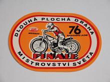 Dlouhá plochá dráha Mariánské Lázně - 1976 - finále mistrovství světa - samolepka - JAWA