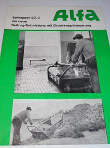 Alfa - Schrapper SZ 2 die neue Seilzug-Entmistung mit Druckknopfsteuerung - prospekt - 1969
