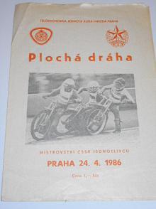 Plochá dráha - Praha Markéta - 24. 4. 1986 - startovní listina