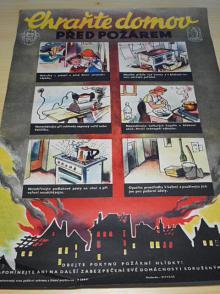 Chraňte domov před požárem - dbejte pokynů požární hlídky! plakát - 1955