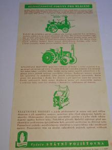 Bezpečnostní pokyny pro mlácení - plakát - leták - Státní pojišťovna - Zábrana