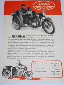ČZ 125 Rickshaw, Jawa 250 Rickshaw - pérák - rikša - prospekt - 1949 - Motokov