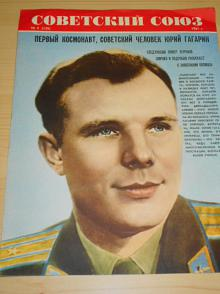 Jurij Gagarin - první kosmonaut - reklama na časopis Sovětský svaz - 1961