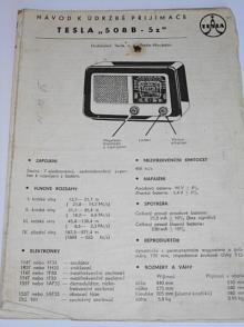 Tesla 508 B - 5z - návod k údržbě přijimače