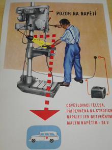 Pozor na napětí - osvětlovací tělesa, připevněná na strojích, napájej jen bezpečným malým napětím - 24 V
