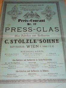 C. Stölzle´s Söhne Wien - Glas - Fabriken und Raffinerien - Preis - Courant No. 17 - 1889