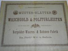 Muster - Blätter von Waschgold a Politurleisten - Vergolder - Waaren a Rahmen - Fabrik Em. Fürth´s Wwe. in Budweis