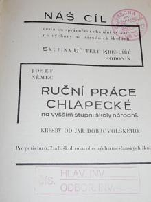 Ruční práce chlapecké na vyšším stupni školy národní - Josef Němec - 1931