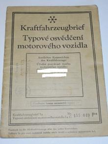 Škoda Popular 995 ccm - 1937 - Kraftfahrzeugbrief - Typové osvědčení motorového vozidla - 1941