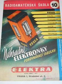 Náhradní elektronky - porovnávací tabulky - radioamatérská škola 10