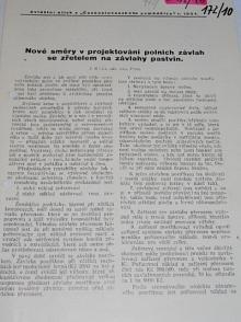 Nové směry v projektování polních závlah se zřetelem na závlahy pastvin - zvláštní otisk z Československého zemědělce r. 1934
