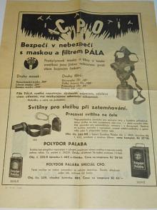 Pála akc. spol., Slaný - CPO - bezpečí v nebezpečí s maskou a filtrem Pála - leták - 1938