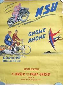 NSU - Gnome Rhone - Dürkopp Bielefeld - plakát - S. Tomšů a spol, Praha - Smíchov