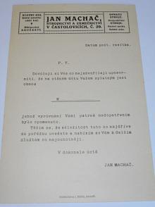 Jan Machač, strojnictví a zámečnictví v Častolovicích - stavby kol - dopis - upozornění na dluh
