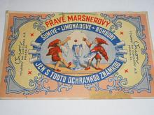 Pravé Maršnerovy šumivé limonádové bonbony - Orion, továrny na čokoládu a. s. Praha XII. - papírová reklama