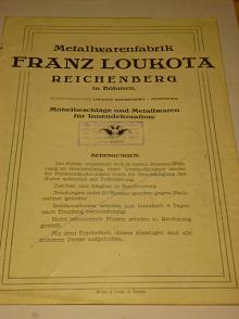 Franz Loukota, Reichenberg - Metallwarenfabrik - prospekt + Preisliste - Liberec