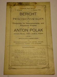 Anton Polak Prag - Bericht über Präcisionswagen - váhy  1905