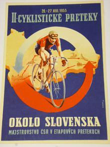 II. cyklistické preteky okolo Slovenska 20.-27. VIII. 1955 - leták