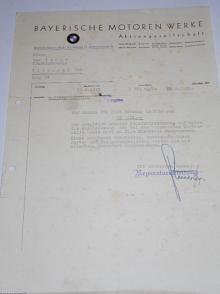 BMW München - firemní dopis - 1935
